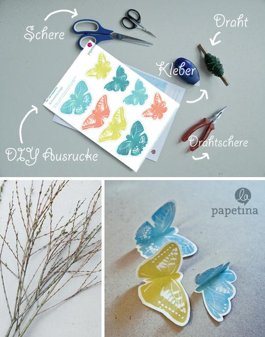 Schmetterlinge für Tischdeko - ausdrucken, ausschneiden und dekorieren!