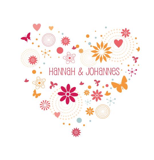 Herz aus Blüten und Schmetterlingen in apricot und rosa malve